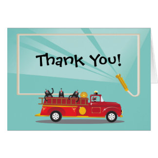 Kitty cat Firetruck Birthday Party Thank you Note Card