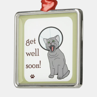 Kitty Cat Get Well Soon Metal Ornament