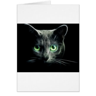 Kitty cat glowing green eyes card