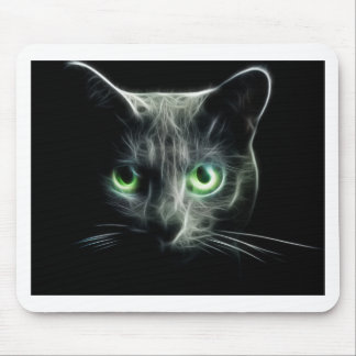 Kitty cat glowing green eyes mouse pad