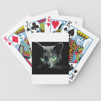 Kitty cat glowing green eyes bicycle playing cards