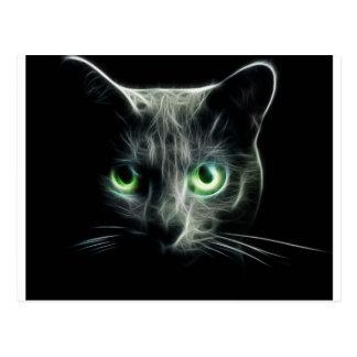 Kitty cat glowing green eyes postcard