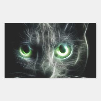 Kitty cat glowing green eyes rectangular sticker