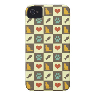 Kitty cat heart fish checkered pattern pet lover Case-Mate iPhone 4 cases