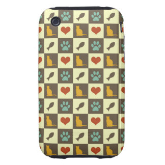 Kitty cat heart fish checkered pattern pet lover tough iPhone 3 case