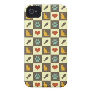 Kitty cat heart fish checkered pattern pet lover iPhone 4 Case-Mate case