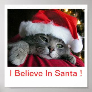 Kitty Cat I Believe In Santa Print