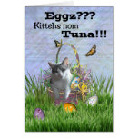 Kitty Cat in Easter Basket with Eggs & Butterflies Greeting Card