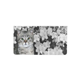 Kitty cat in flowers checkbook cover