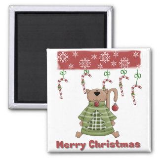 Kitty Cat in Green Plaid 2 Inch Square Magnet