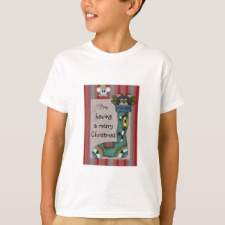 Kitty Cat in Stocking Picture T-Shirt