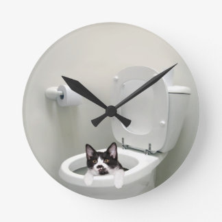 Kitty cat in toilet bowl round wall clock