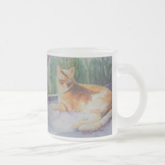 Kitty Cat in Window Frosted Glass Coffee Mug