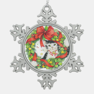 Kitty cat in wreath snowflake Christmas Ornament
