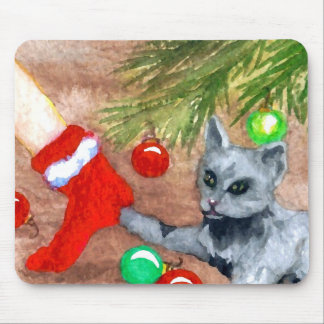 Kitty Cat Is It Christmas Yet Holiday Fun Mouse Pads