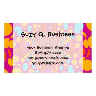 Kitty Cat Kaleidoscope Pink Teal Polka Dots Business Card