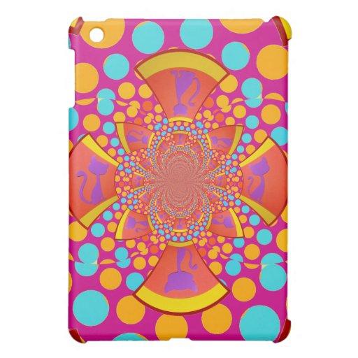 Kitty Cat Kaleidoscope Pink Teal Polka Dots iPad Mini Covers