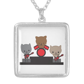 Kitty Cat Kawaii Band Square Pendant Necklace