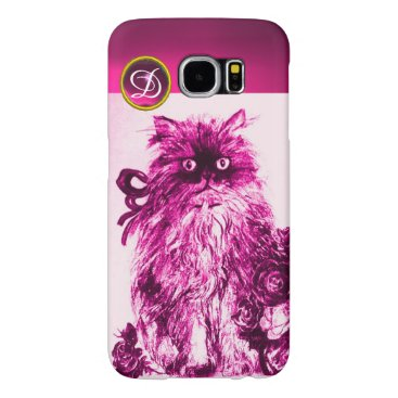 Professional Business KITTY CAT - KITTEN,FUCHSIA PINK ROSES Gem Monogram Samsung Galaxy S6 Case