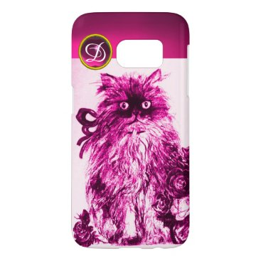 Professional Business KITTY CAT - KITTEN,FUCHSIA PINK ROSES Gem Monogram Samsung Galaxy S7 Case
