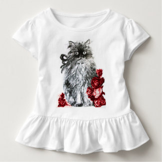 KITTY CAT ,KITTEN WITH RED ROSES ,Black and White Toddler T-shirt