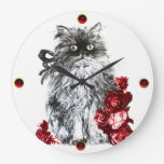 KITTY CAT,KITTEN WITH RED ROSES,Black White Large Clock
