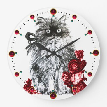 Professional Business KITTY CAT,KITTEN WITH RED ROSES,Black White Large Clock
