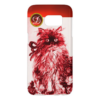 KITTY CAT - KITTEN WITH RED ROSES Gem Monogram Samsung Galaxy S7 Case