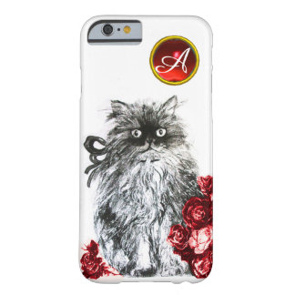 KITTY CAT,KITTEN WITH RED ROSES GEM MONOGRAM,white Barely There iPhone 6 Case