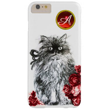 Professional Business KITTY CAT,KITTEN WITH RED ROSES GEM MONOGRAM,white Barely There iPhone 6 Plus Case