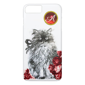 KITTY CAT,KITTEN WITH RED ROSES GEM MONOGRAM,white iPhone 7 Plus Case