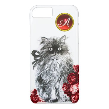 Professional Business KITTY CAT,KITTEN WITH RED ROSES GEM MONOGRAM,white iPhone 8/7 Case