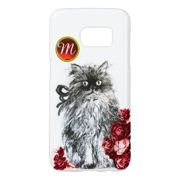 Professional Business KITTY CAT,KITTEN WITH RED ROSES GEM MONOGRAM,white Samsung Galaxy S7 Case