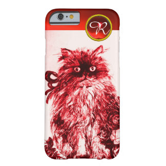 KITTY CAT- KITTEN WITH RED ROSES Gemstone Monogram Barely There iPhone 6 Case