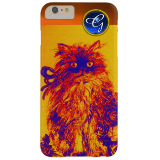 KITTY CAT,KITTEN YELLOW BLUE ROSES Gem Monogram Barely There iPhone 6 Plus Case