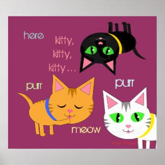 Kitty Cat Love Art Poster Print 3