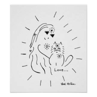 Kitty Cat Love Canvas Poster