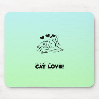 Kitty, Cat Love, Hearts - Black Green Mouse Pad