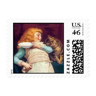 Kitty Cat Love - Vintage Art Stamp by Barber