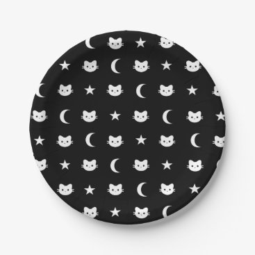 Halloween Themed kitty Cat Moon And Stars Paper Plate
