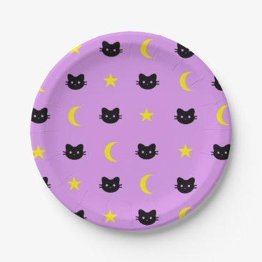 Halloween Themed kitty Cat Moon And Stars Paper Plates