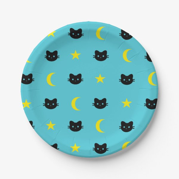 kitty Cat Moon And Stars Paper Plates