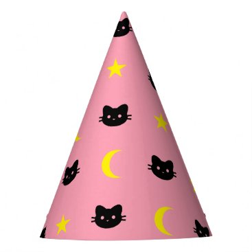 Halloween Themed kitty Cat Moon And Stars Party Hat
