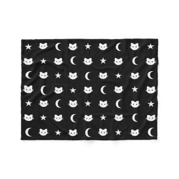 Halloween Themed Kitty Cat Moon And Stars Polyester Fleece Blanket
