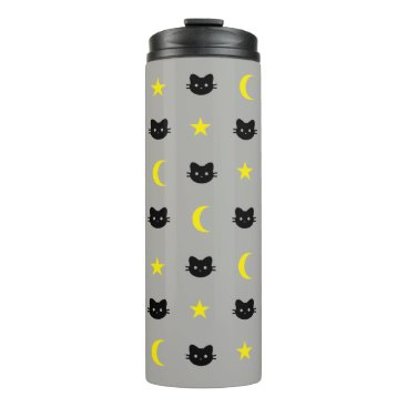 Halloween Themed Kitty Cat Moon And Stars Thermal Tumbler