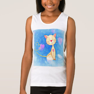 kitty cat pet cute hearts smile girly girls girl tank top