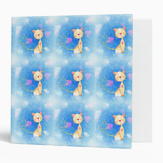 kitty cat pets cute meow purr hearts smile blue 3 ring binder