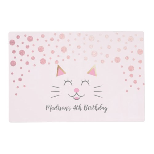 Kitty Cat Pink Gold Birthday Party Placemat