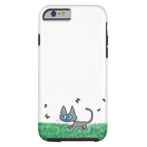 Kitty Cat Playing With Butterflies iPhone 6 Case