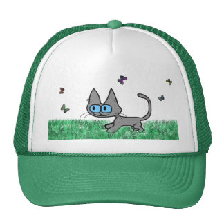 Kitty Cat Playing With Butterflies Mesh Hat